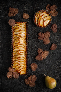 Chocolate almond pear tart