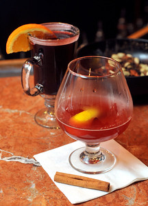 Warmed, mulled wine (left) and Long December, are two of the drinks available at Bravos in Highland Village on Northside Drive in Jackson.
