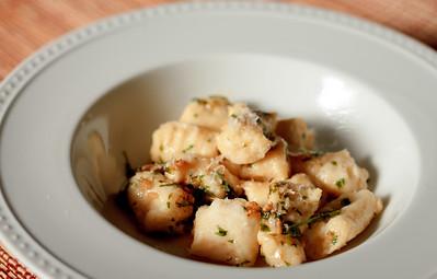 Gnocchi in Cilantro Butter Sauce