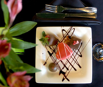 This selection of Valentine Day dessert at Bon Ami in Jackson includes a strawberry heart with strawberry gelato filling, chocolate covered cherry and strawberry and a chocolate pinafore.