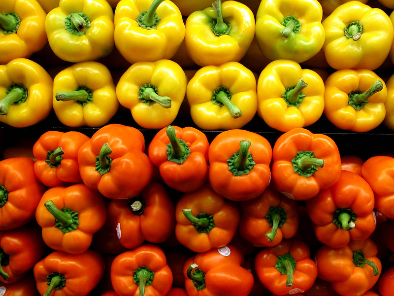 Bell Peppers Yellow and Orange  Copyright - W. Keith Baum | PhotoCanal.com