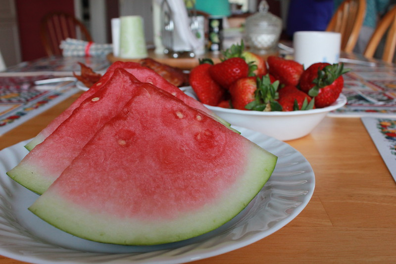Slices of Watermelon and Strawberries