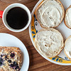 Blueberry scone, black coffee and bagels