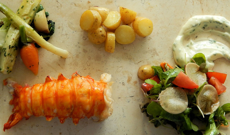 Lobster Tail with Baby Vegetables