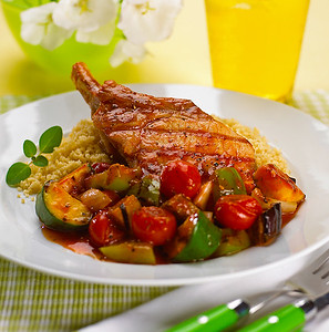 Pork chop and mediterranean vegetables