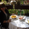 At the Dracula house restaurant in Transylvania - goulash soup, polenta cakes with sour cream, and salad