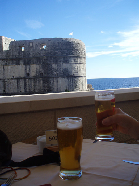 Pivo (Croatian for beer) was abundant and inexpensive (cheaper than a coke for the local brew) - this is next to the city walls of Dubrovnik