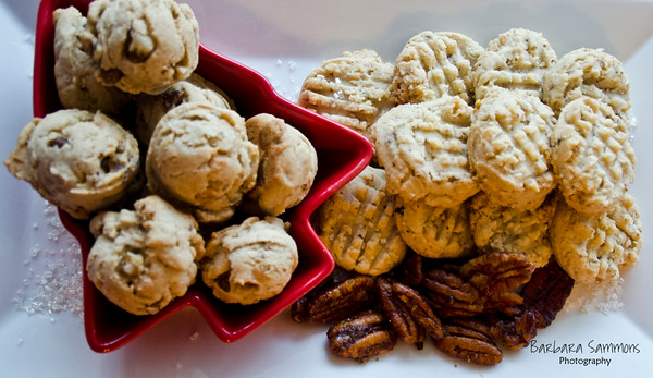 Black Walnut Peanut Butter Chip Cookies (left) and Parisian Christmas Cookies (right)
