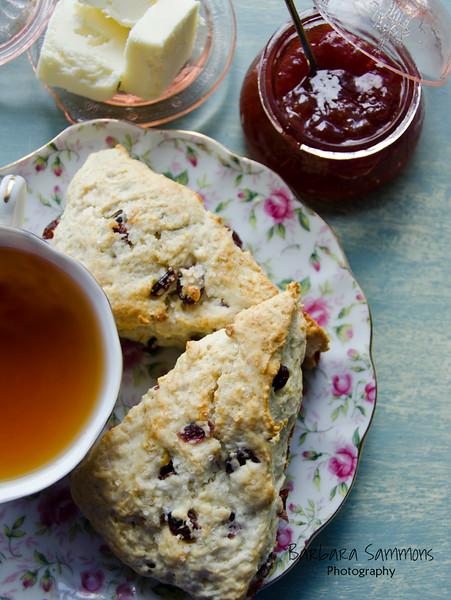 Cranberry-Orange Scones with Black Currant Tea