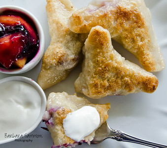 Blueberry Dumplings with Sour Cream and Peach-Berry Compote