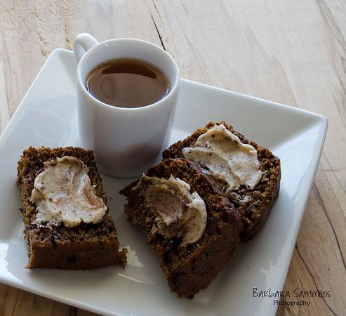Espresso Chocolate Chip Banana Bread with Espresso Cinnamon Butter