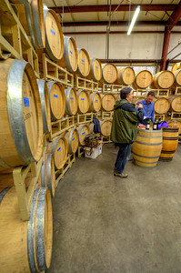 Wine tasting in the round. We got to Cadence early, when Ben first opened the door, which explains the wide open space. Note the classic, well used Filson briefcase on the wine box.