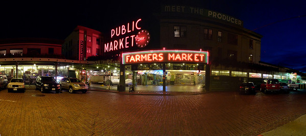 Post dinner scene - Pike Place Market at night, Seattle, Washington Handheld panoramic stitched in Photoshop