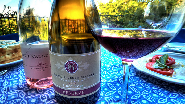 Soter North Valley Rose with Patricia Greene Pinot Noir at an informal evening dinner on the deck at a friend's house on Capitol Hill.