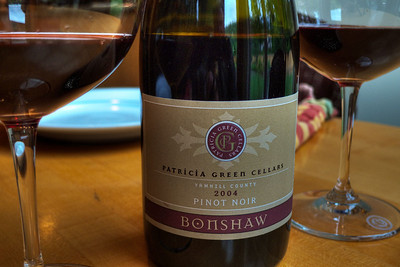 2004 was a great vintage in the Willamette Valley. Patricia Green makes a broad array of vineyard designated Pinot Noirs and they're all pretty darn good. This Bonshaw has sweet plum fruit flavors with a distinctive spicy, briar like finish.