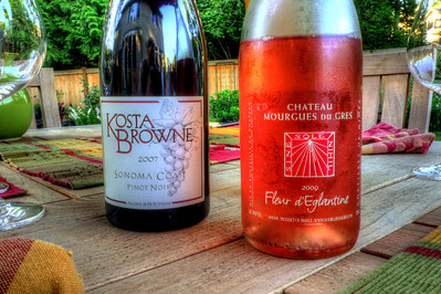 Summer evening with a French Rose and California Pinot Noir. The Kosta Browne was a gift from a friend. The Sonoma Coast is a blend of four vineyards and is very robust and assertive with dark cherry and baking spice flavors. It was delicious and a distinct departure from the Oregon Pinot Noir style that we are so familiar with.