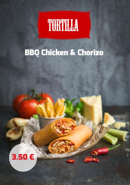 Tortilla BBQ Chicken &Chorizo