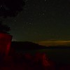 Starry night with clouds over lake jocassee south carolina