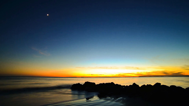 The sun sets over the Edisto River located the St Helena sound in South Carolina