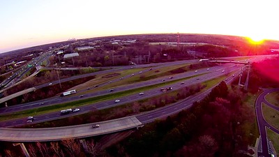 aerial of complex highway clover leaf