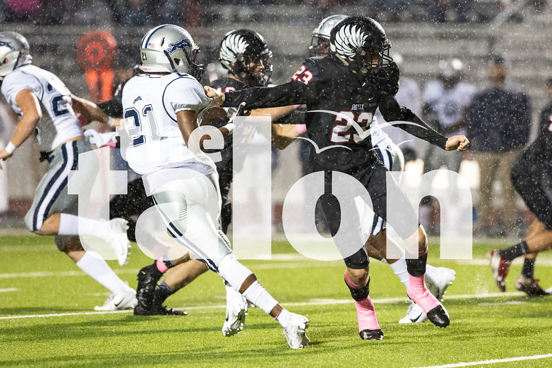 The Argyle Eagles Football team competes against the Paris Cowboys for the Pink Out game at Argyle High School in Argyle, Texas, on October 19, 2018. (GiGi Robertson/ The Talon News)