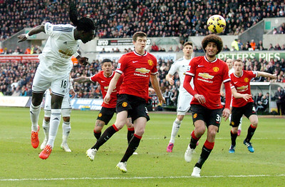SPORT...... SWANSEA V MANCHESTER UNITED..... SATURDAY 21st FEBRUARY 2015 Bafetimbi Gomis goes close with a early header.