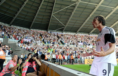 SPORT SWANS V MALMO THURSDAY 1st AUGUST 2013 Michu celebrates.