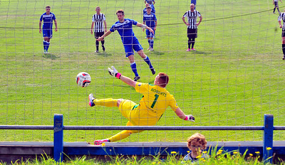 SPORT.... PORT TALBOT V CEFN DRUID SATURDAY 6th SEPTEMBER 2014 ACtion from Port Talbot Town v Cefn Druid. Pictured - Martin Rose scoring from the spot.