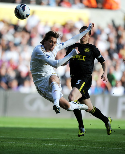 SPORT.... SWANS V WIGAN.... SATURDAY 20th OCTOBER 2012 Michu with an athletic attempt in the first half.