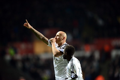 SPORT.... SWANS V NEWCASTLE..... WEDNESDAY 4th DECEMBER 2013 Jonjo Shelvey celebrates his second.