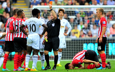 SPORT..... SWANS V SOUTHAMPTON.... SATURDAY 20th SEPTEMBER 2014 Wilfried Bony is sent-off.
