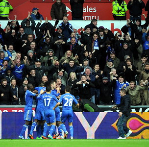 SPORT.... SWANS V CHELSEA..... SATURDAY 3rd NOVEMBER 2012 Chelsea celebrate their goal.