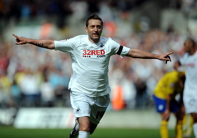 SPORT.... SWANS v PRESTON AUGUST 14th 2010 Stephen Dobbie celebrates his goal.