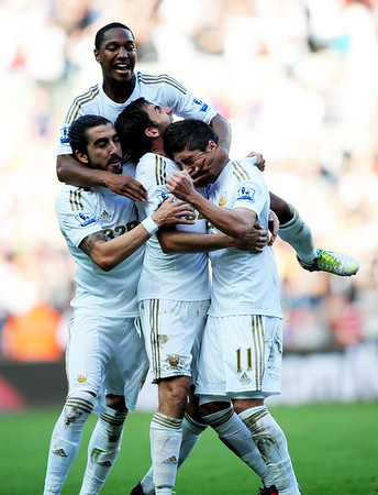 SPORT.... SWANS V WIGAN.... SATURDAY 20th OCTOBER 2012 Pablo Hernandez celebrates his goal.