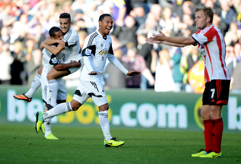 SPORT..... SWANSEA V SUNDERLAND..... SATURDAY OCTOBER 19th 2013 Action from Swansea City v Sunderland at the Liberty Stadium. Pictured : Jonathan de Guzman celebrates his second half strike.