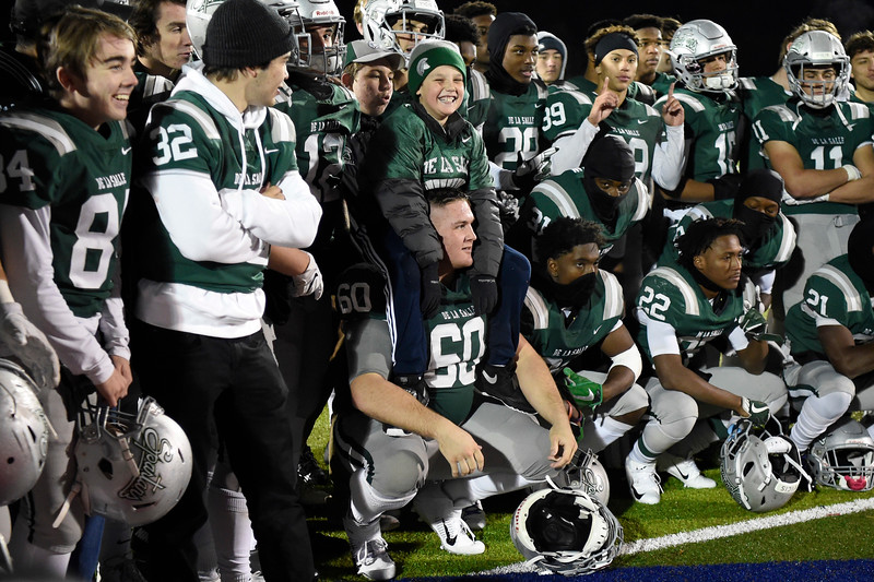 De La Salle waits to receive their first place plaque after winning the North Coast Section Division I football championship game at Dublin High School in Dublin, Calif., on Friday, Nov. 29, 2019. De La Salle defeated Pittsburg 49-7 to win it's 28th consecutive NCS title. (Photo by Jose Santos Fajardo)