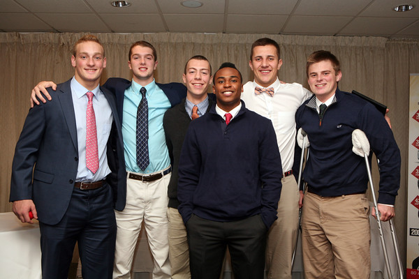 AMY SWEENEY/Staff photo.The Marblehead All-Stars pose for a photo after the Salem News 2016 High School Football All-Stars banquet held at Danversport Yacht club. 12/6/16