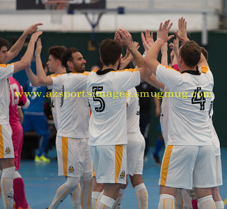 CUFC players high five before the LONDON HELVECIA v CAMBRIDGE UNITED FUTSAL. FA National Super League Play-Off. 2nd Leg Quarter-Final. Score Centre. 21.05.2017
