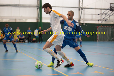 Tobajas of CUFC goes past De Santana LONDON HELVECIA v CAMBRIDGE UNITED FUTSAL. FA National Super League Play-Off. 2nd Leg Quarter-Final. Score Centre. 21.05.2017