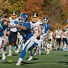 Lunenburg High School played Littelton High School on Saturday afternoon at Lunenburg Middle High School. Lunenburg's #10 Colby Sprague reaches for a throw. SENTINEL & ENTERPRISE/JOHN LOVE