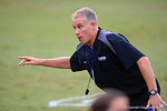 Florida Gator defensive coordinator D.J. Durkin coaches up the recruits during a drill. 2014 Friday Night Lights.  July 25th, 2014. Gator Country photo by David Bowie.