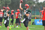 QBs Sean White and Michael O'Connor throwing downfield during a passing drill.  Under Armour All America Football Bowl Practice Day 1.  Orlando,FL.  December 29, 2013.  Gator Country photo by David Bowie.