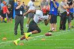 2014 Florida Gator recruit Travis Rudolph during a drill sprints upfield.  Under Armour All America Football Bowl Practice Day 1.  Orlando,FL.  December 29, 2013.  Gator Country photo by David Bowie.