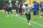Notre Dame commit WR Isaiah McKenzie sprints along the sideline after making a catch.  Under Armour All America Football Bowl Practice Day 1.  Orlando,FL.  December 29, 2013.  Gator Country photo by David Bowie.