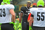 DE Lorenzo Carter smiling having a good time during the practice.  Under Armour All America Football Bowl Practice Day 1.  Orlando,FL.  December 29, 2013.  Gator Country photo by David Bowie.