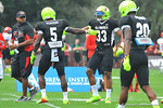 Team Nitro teammates Jabrill Peppers and Jamal Adams celebrate after a good defensive play.  Under Armour All America Football Bowl Practice Day 1.  Orlando,FL.  December 29, 2013.  Gator Country photo by David Bowie.
