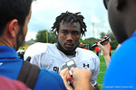 2014 Florida Gator commit RB Dalvin Cook talks with the media following practice.  Under Armour All America Football Bowl Practice Day 1.  Orlando,FL.  December 29, 2013.  Gator Country photo by David Bowie.