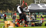Florida Gators wide receiver commit Josh Hammond catches pass over defensive back Jayvaughn Myers at Under Armour All-American Practice Day One. GatorCountry photo by Kassidy Hill