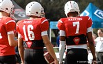 Quarterbacks Malik Henry and Dwayne Haskins at Under Armour All-American Practice Day One. GatorCountry photo by Kassidy Hill