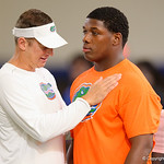 Florida Gators Offensive Coordinator/Quarterbacks Doug Nussmeier and 2019 recruit Jaquaze Sorrelles at Friday Night Lights camp at Ben Hill Griffin Stadium and Indoor Practice Facility.  July 21st, 2017.  Gator Country Photo by David Bowie.